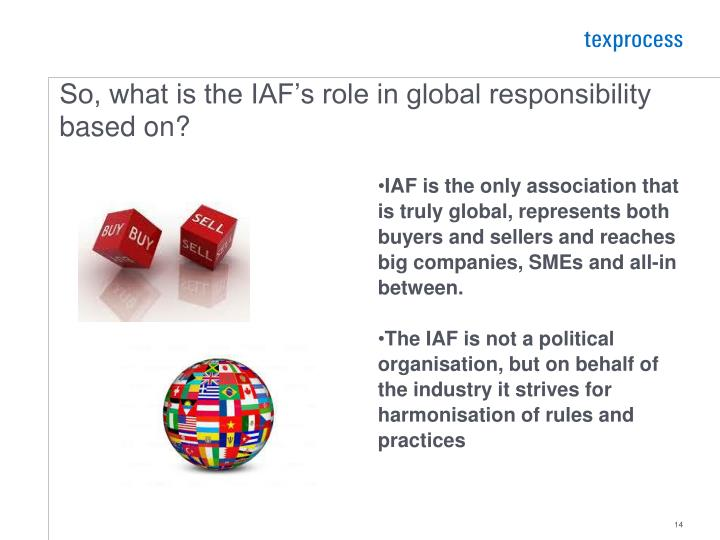 So, what is the IAF's role in global responsibility based on?