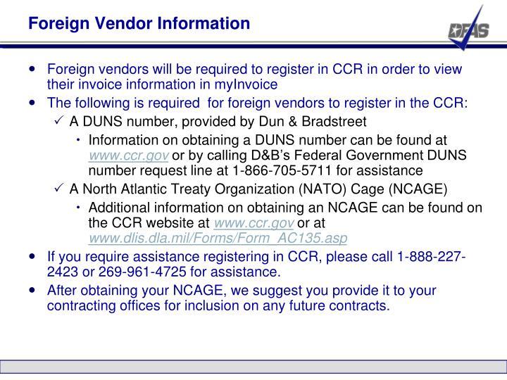 Foreign Vendor Information