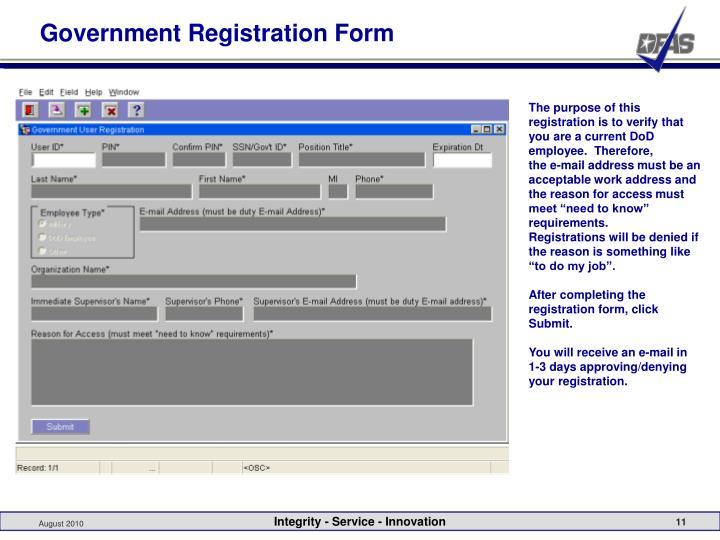Government Registration Form