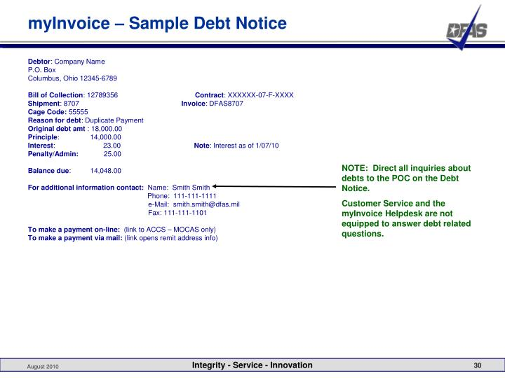 myInvoice – Sample Debt Notice