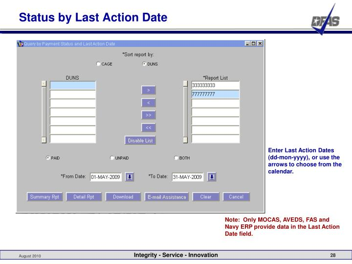 Status by Last Action Date