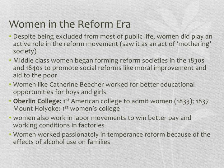 Women in the Reform Era
