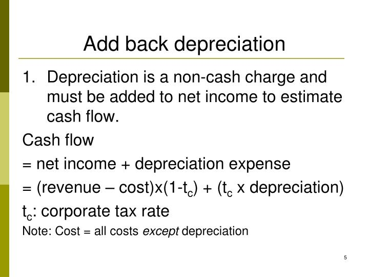 Add back depreciation