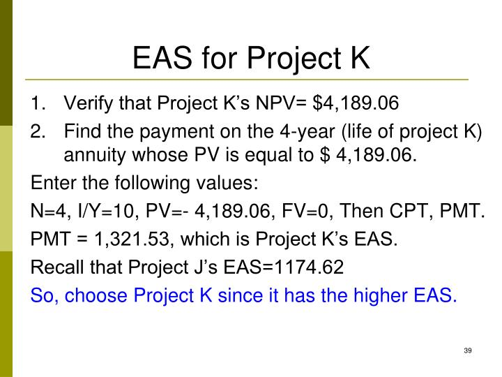 EAS for Project K
