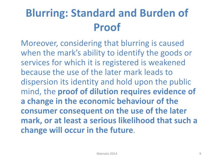 Blurring: Standard and Burden of Proof