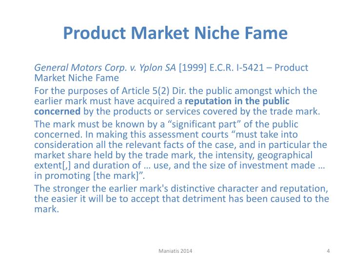 Product Market Niche Fame