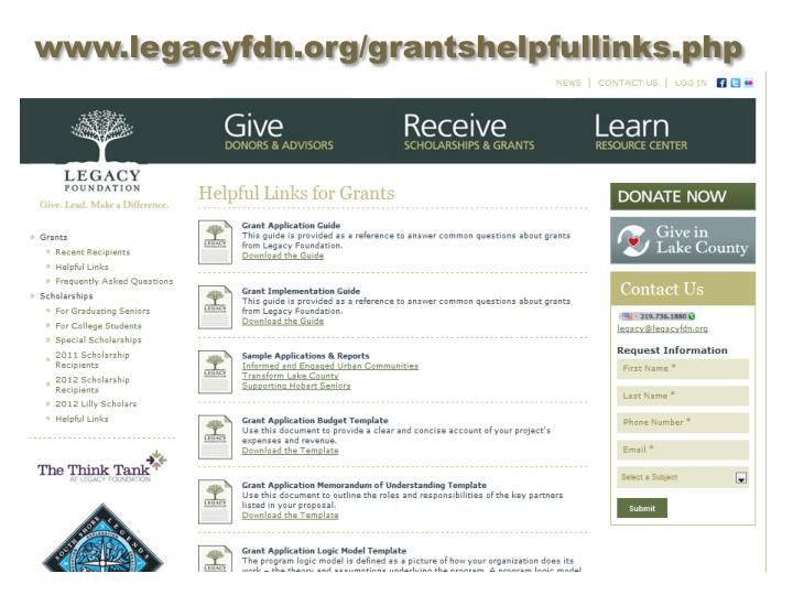 www.legacyfdn.org/grantshelpfullinks.php