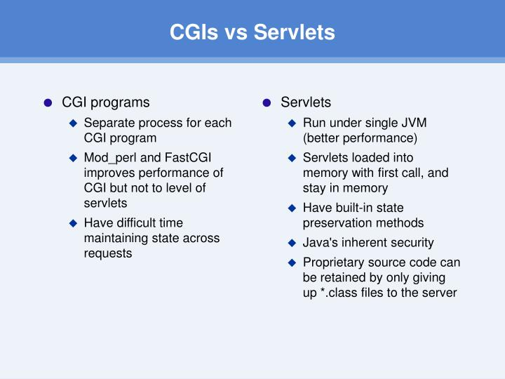 CGIs vs Servlets