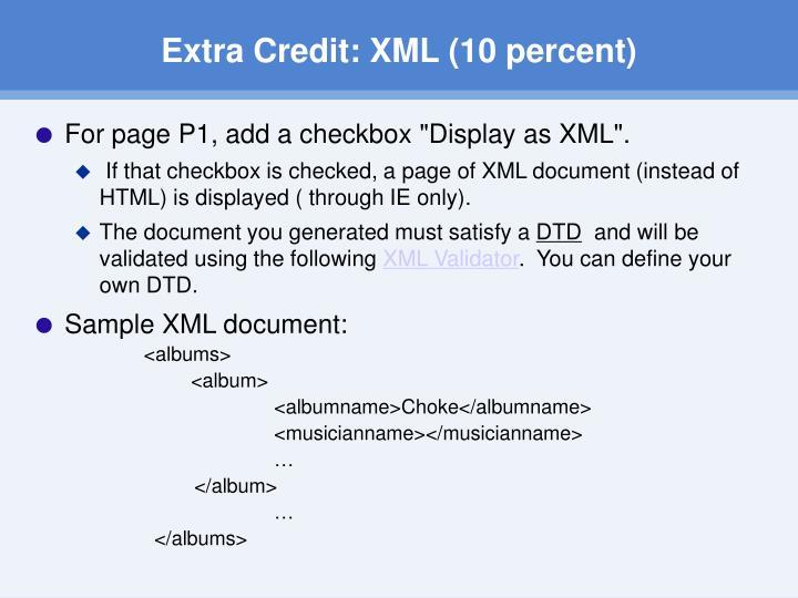 Extra Credit: XML (