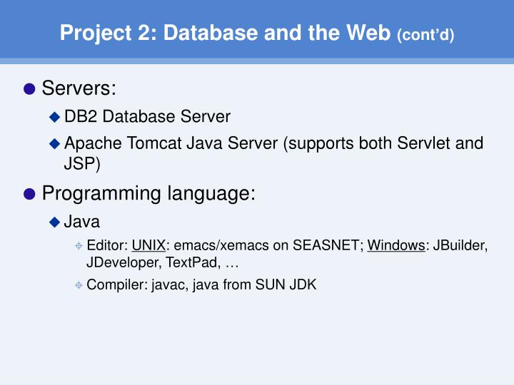 Project 2: Database and the Web