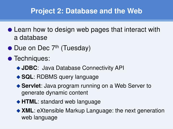 Project 2 database and the web1