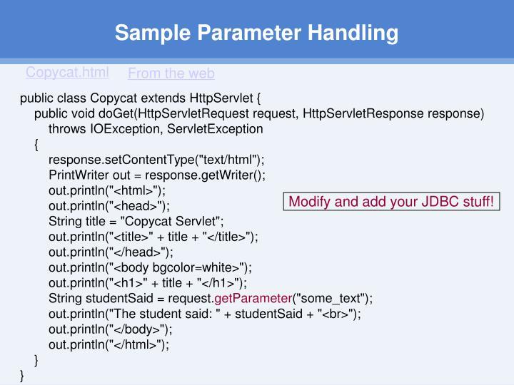 Sample Parameter Handling