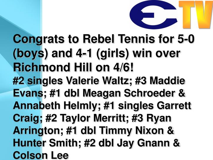Congrats to Rebel Tennis for 5-0 (boys) and 4-1 (girls) win over Richmond Hill on 4/6!
