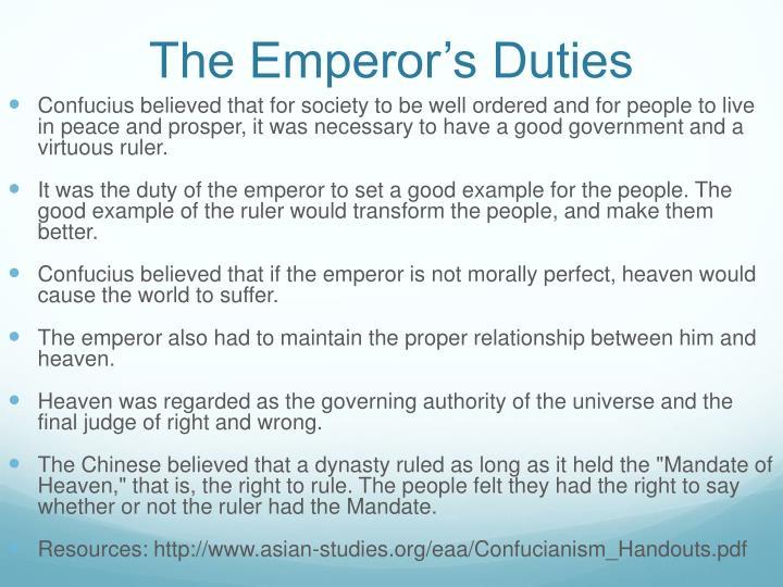 The Emperor's Duties