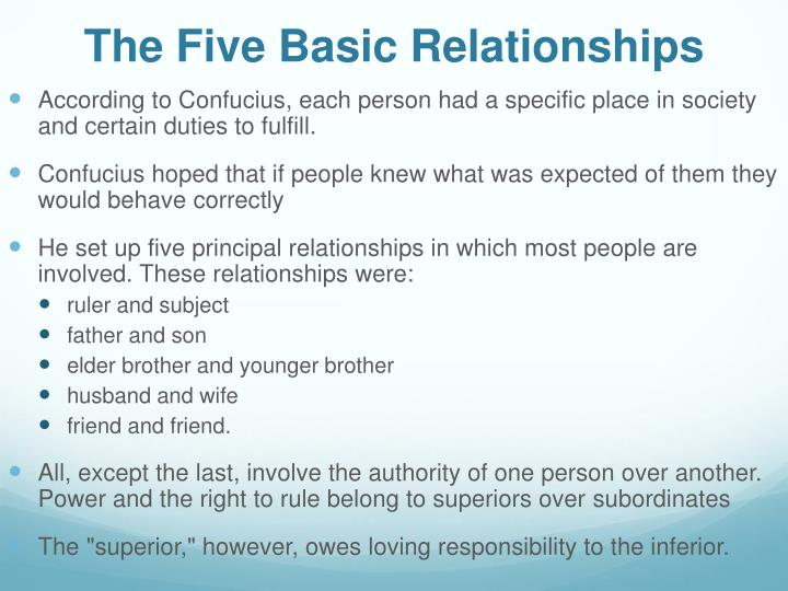 The five basic relationships