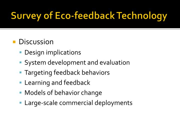 Survey of Eco-feedback