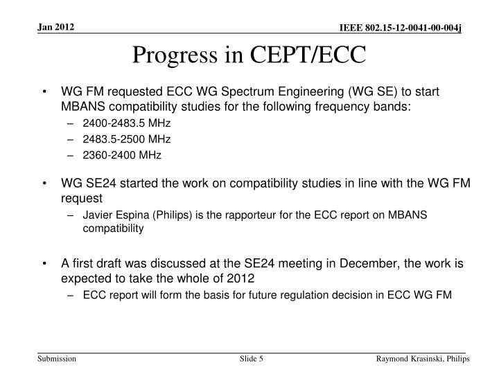 Progress in CEPT/ECC