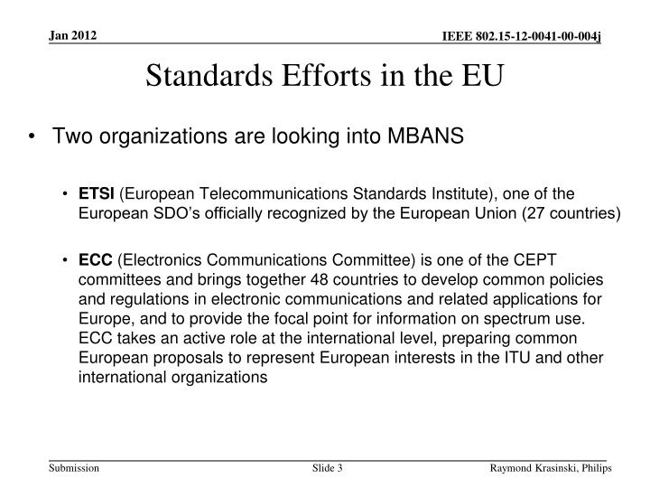 Standards efforts in the eu