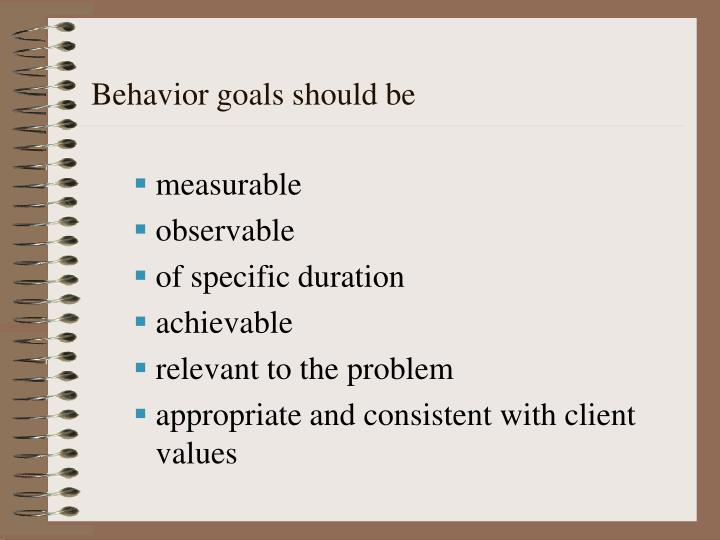 Behavior goals should be