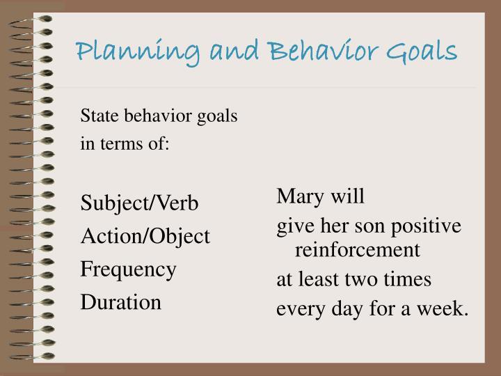 State behavior goals