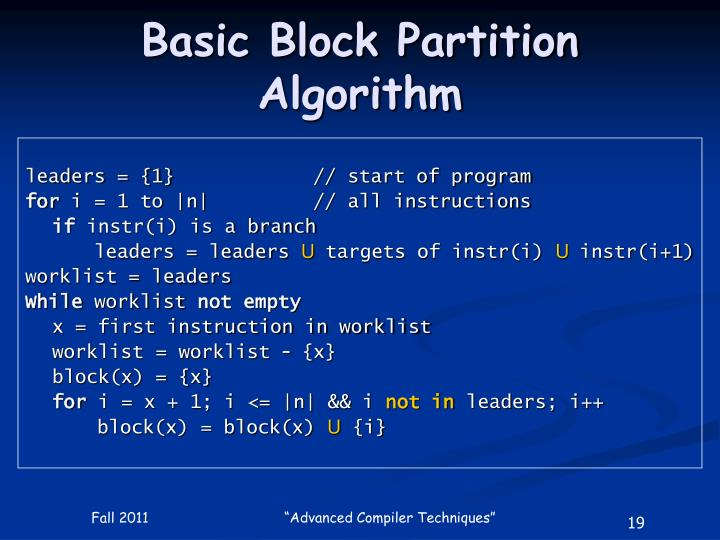 Basic Block Partition Algorithm