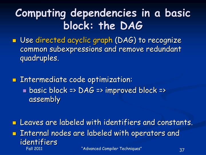 Computing dependencies in a basic block: the DAG