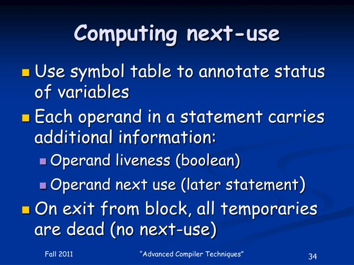 Computing next-use