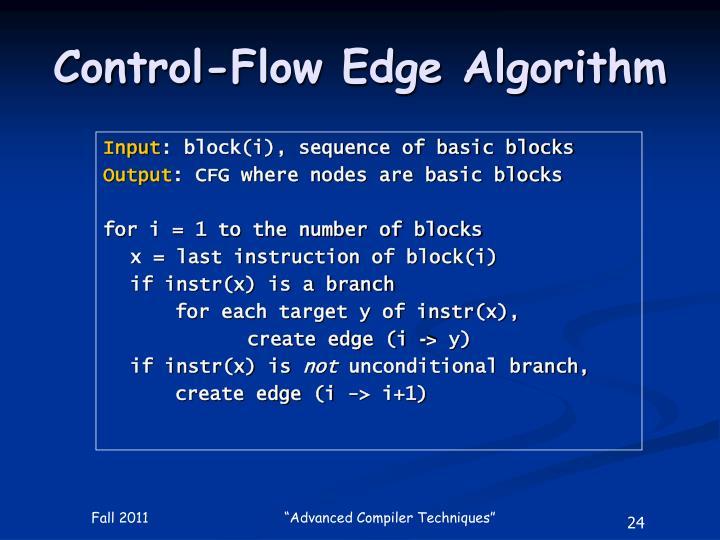 Control-Flow Edge Algorithm