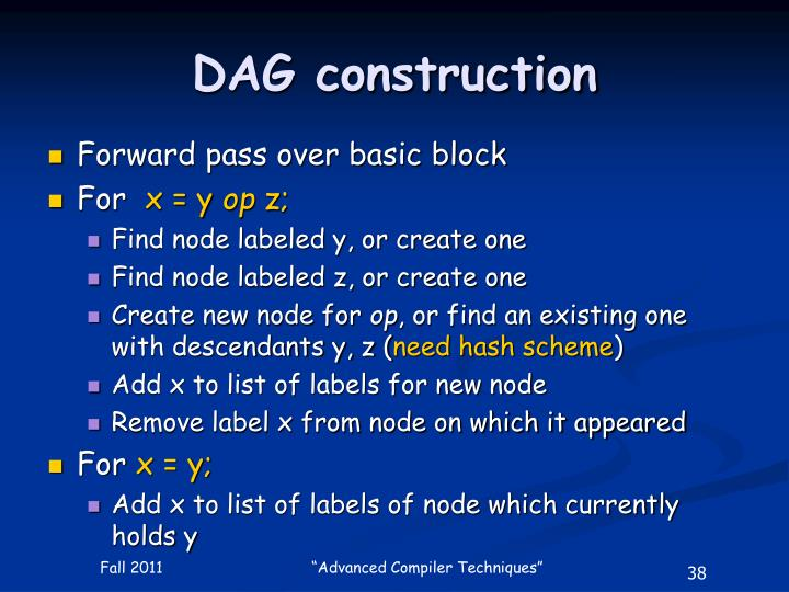 DAG construction