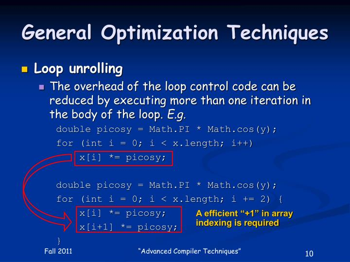 General Optimization Techniques