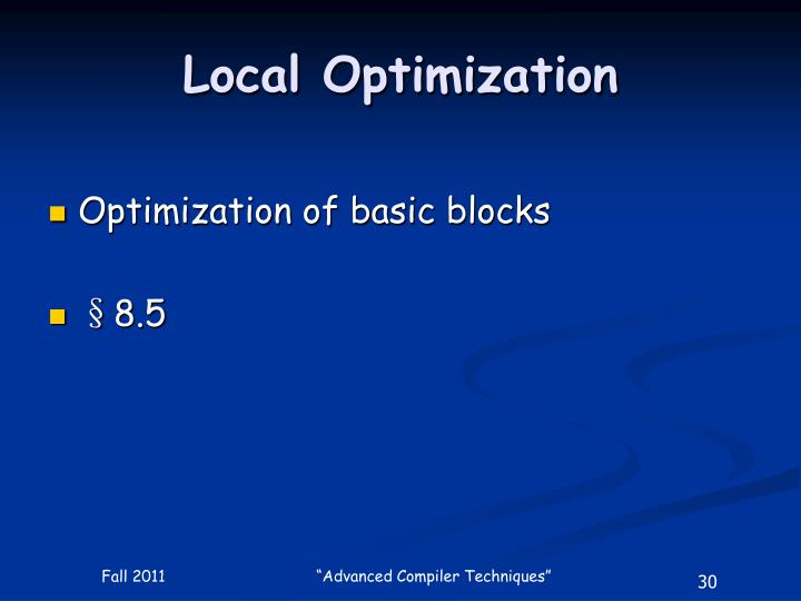 Local Optimization
