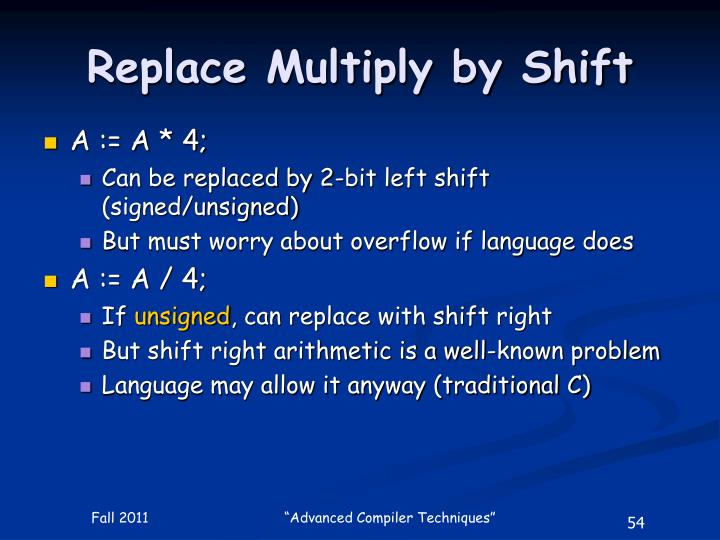 Replace Multiply by Shift