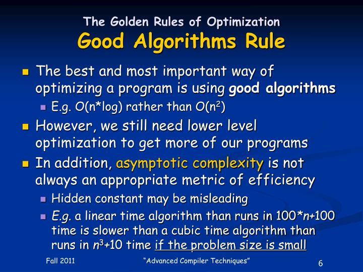 The Golden Rules of Optimization