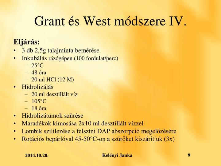 Grant és West módszere IV.