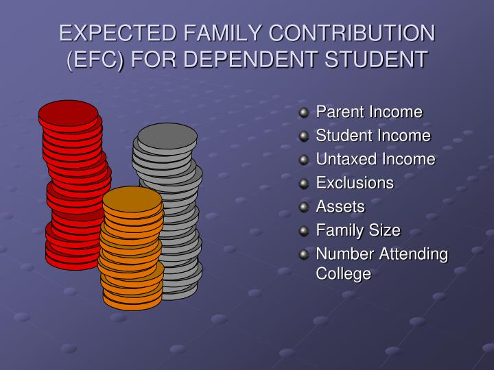 EXPECTED FAMILY CONTRIBUTION (EFC) FOR DEPENDENT STUDENT