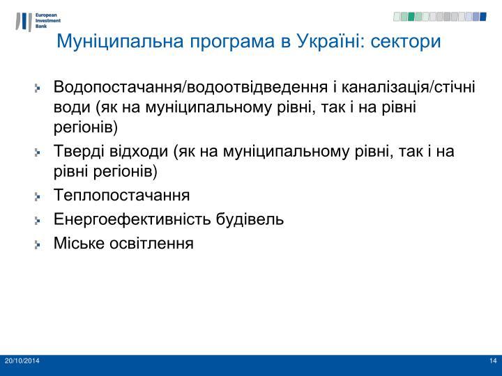 Муніципальна програма в Україні: сектори