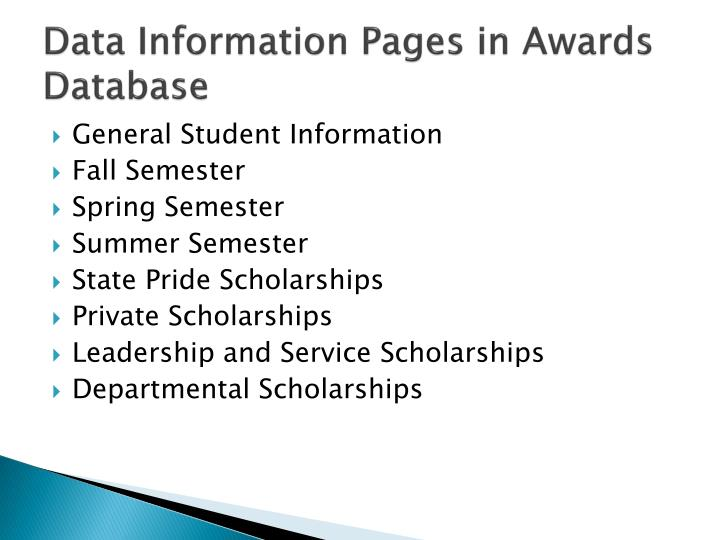 Data information pages in awards database