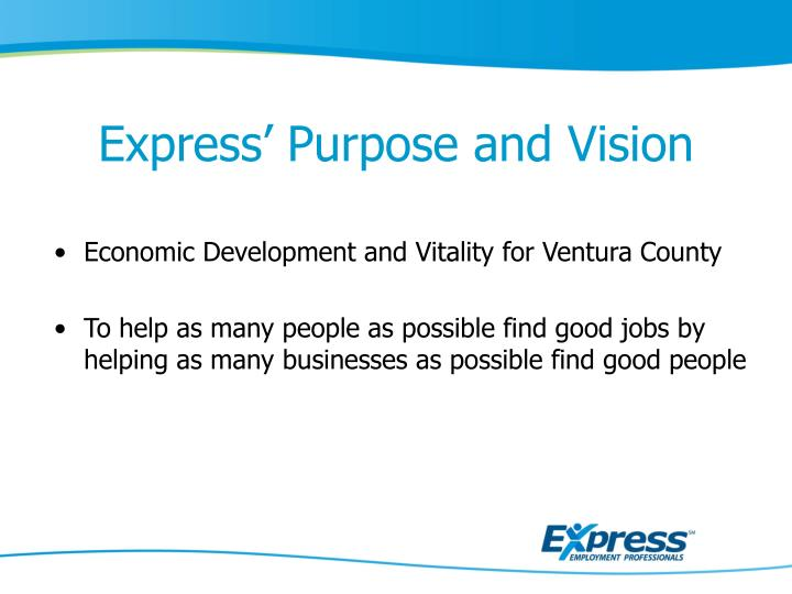 Express purpose and vision