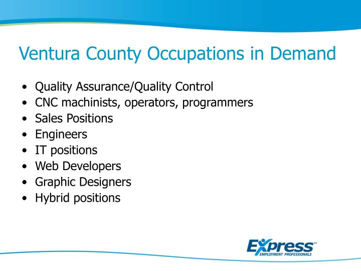 Ventura County Occupations in Demand