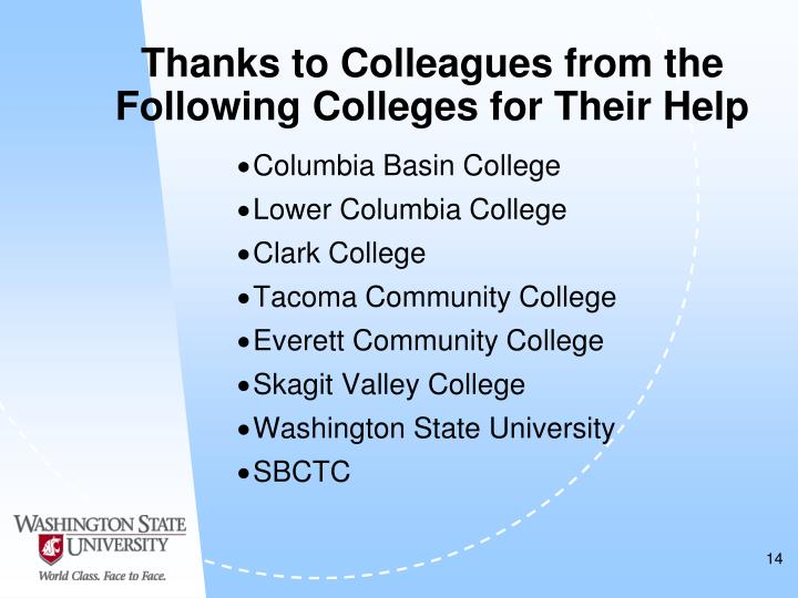 Thanks to Colleagues from the Following Colleges for Their Help