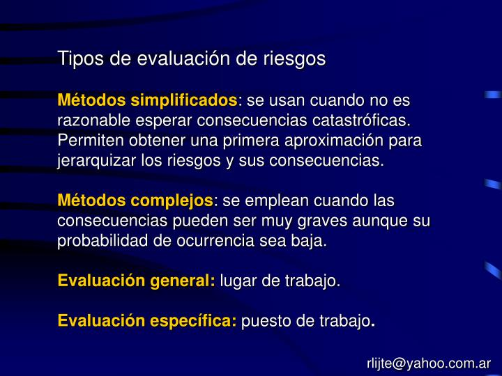 Tipos de evaluación de riesgos
