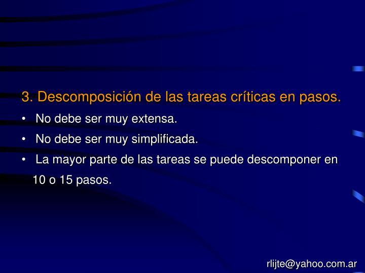 3. Descomposición de las tareas críticas en pasos.