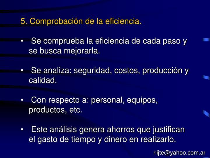 5. Comprobación de la eficiencia.