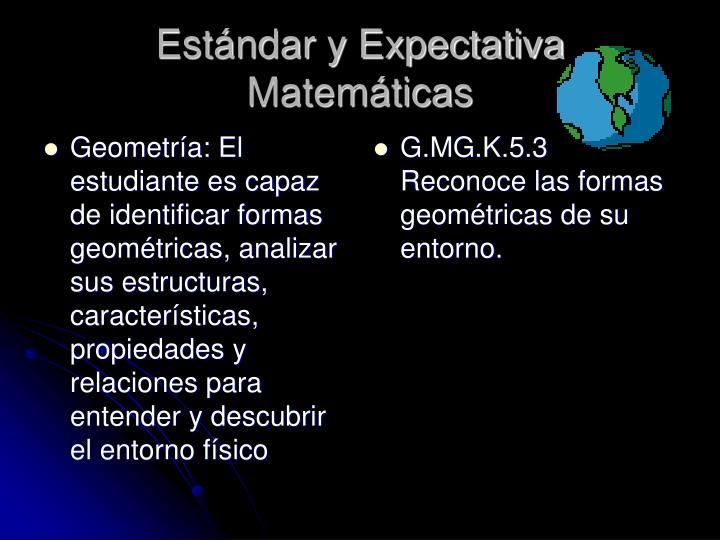 Geometría: El estudiante es capaz de identificar formas geométricas, analizar sus estructuras, características, propiedades y relaciones para entender y descubrir el entorno físico