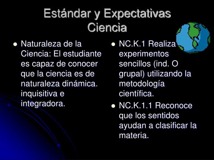 Naturaleza de la Ciencia: El estudiante es capaz de conocer que la ciencia es de naturaleza dinámica. inquisitiva e integradora.