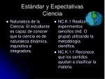 est ndar y expectativas ciencia