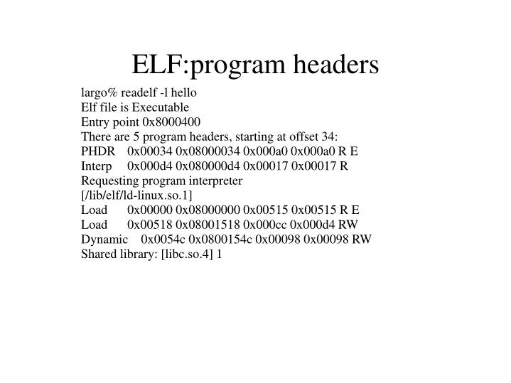 ELF:program headers