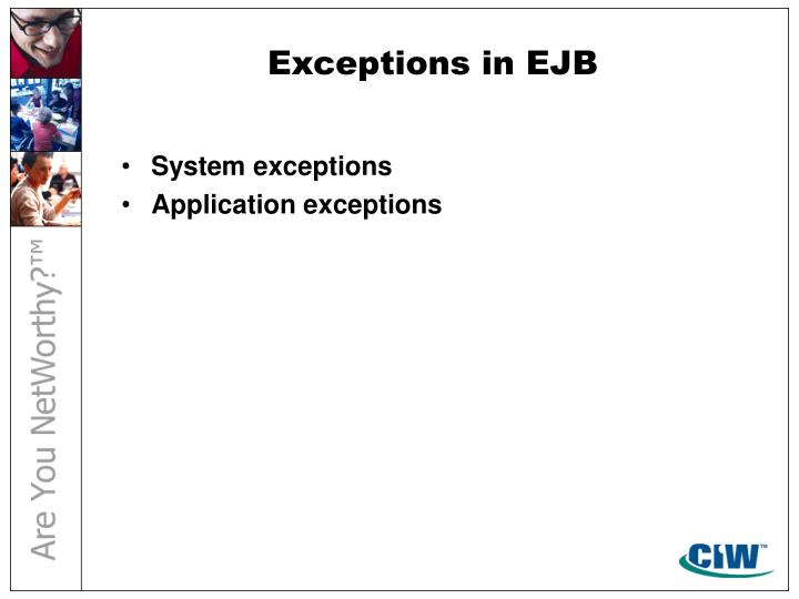 Exceptions in EJB