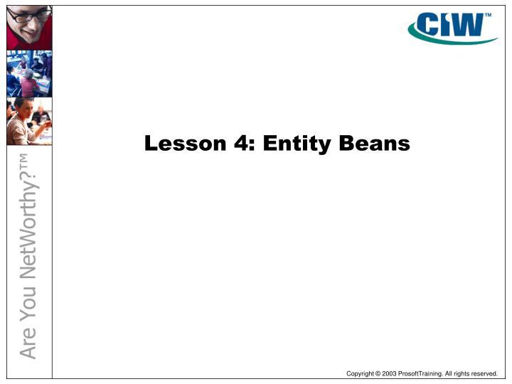 Lesson 4: Entity Beans