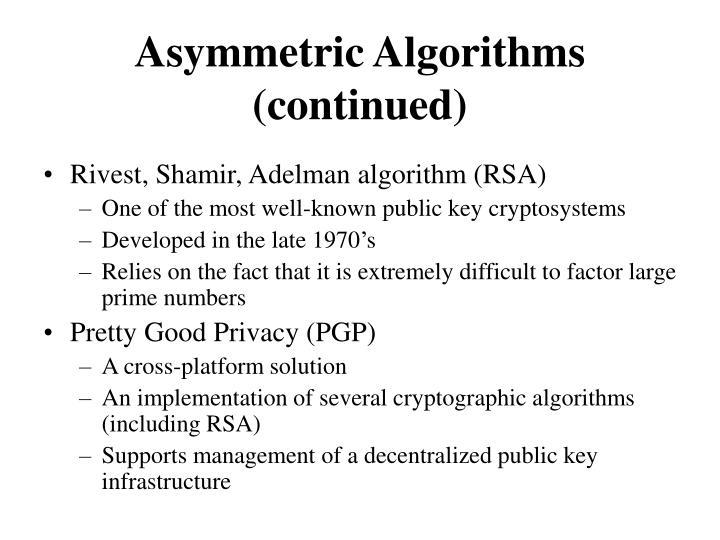 Asymmetric Algorithms (continued)